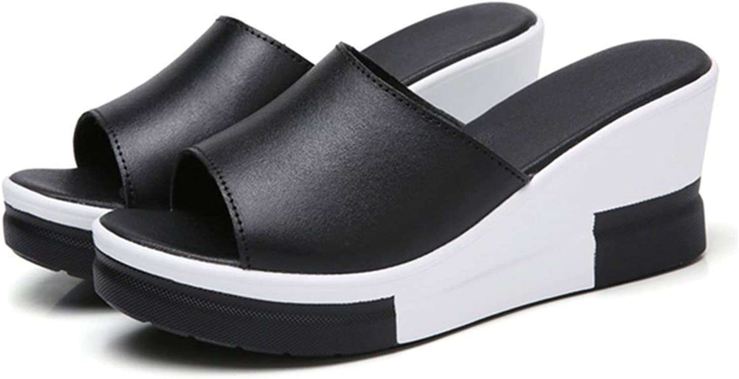 Four- Summer Genuine Leather Women Platform shoes Wedges Flip Flops Leather Outside Slides Slippers Creepers