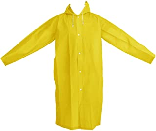 Poncho Impermeable de Lluvia Portátil de Adulto con Capuchas y Mangas (Amarillo)