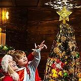 Demana - Decorazione natalizia a forma di stella, con proiettore a LED rotante a forma di stella, colore oro 3D con glitter, decorazione per albero di Natale (oro)