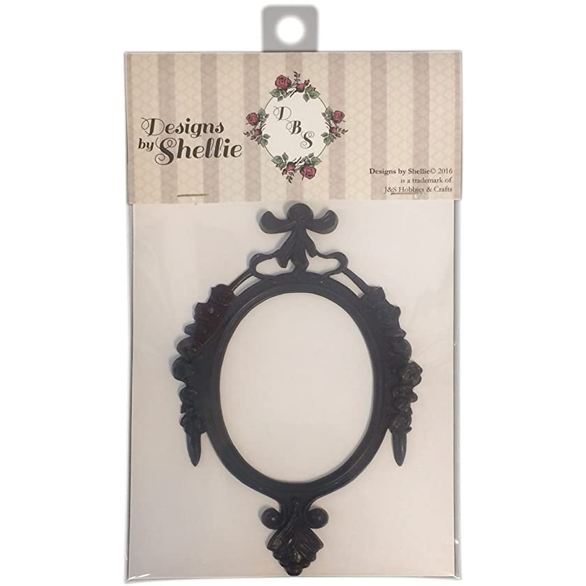 Designs By Shellie Resin Frame-Black Oval, 6.25x4