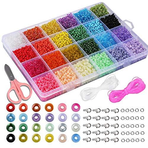 SOSMAR 12000pcs Mini Glasperlen 3mm 24 Farben, Saatperlen Rocailles Perlen mit Aufbewahrungsbox für Basteln Fädeln Auffädeln DIY armbänder Halsketten schmuck und Perlenwebrahmen etc.