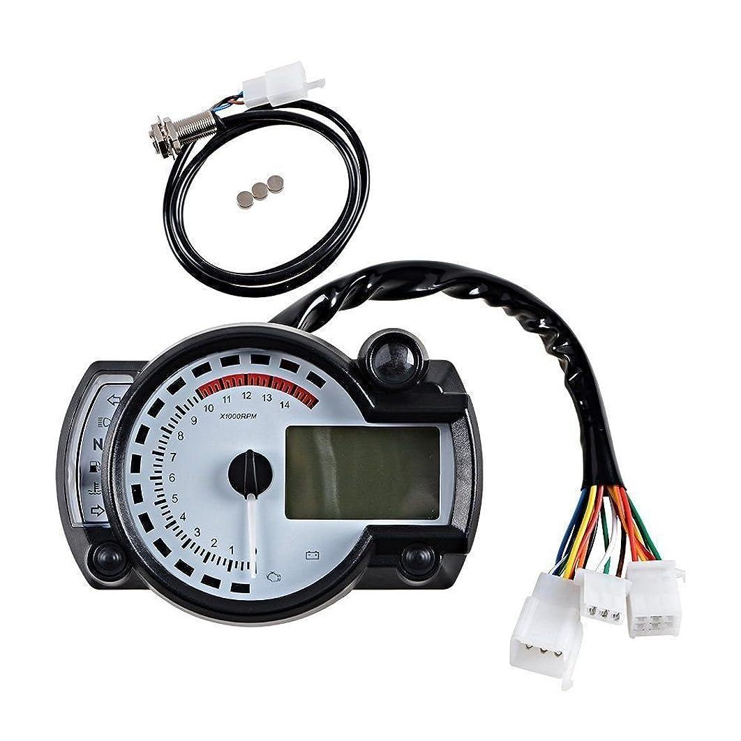 Universal 15000 RPM 299 KMH MPH Odometer Speedometer Tachometer Motorcycle 8-22 inch wheel adjust for HONDA,SUZUKI,KAWASAKI,YAMAHA etc. (White)