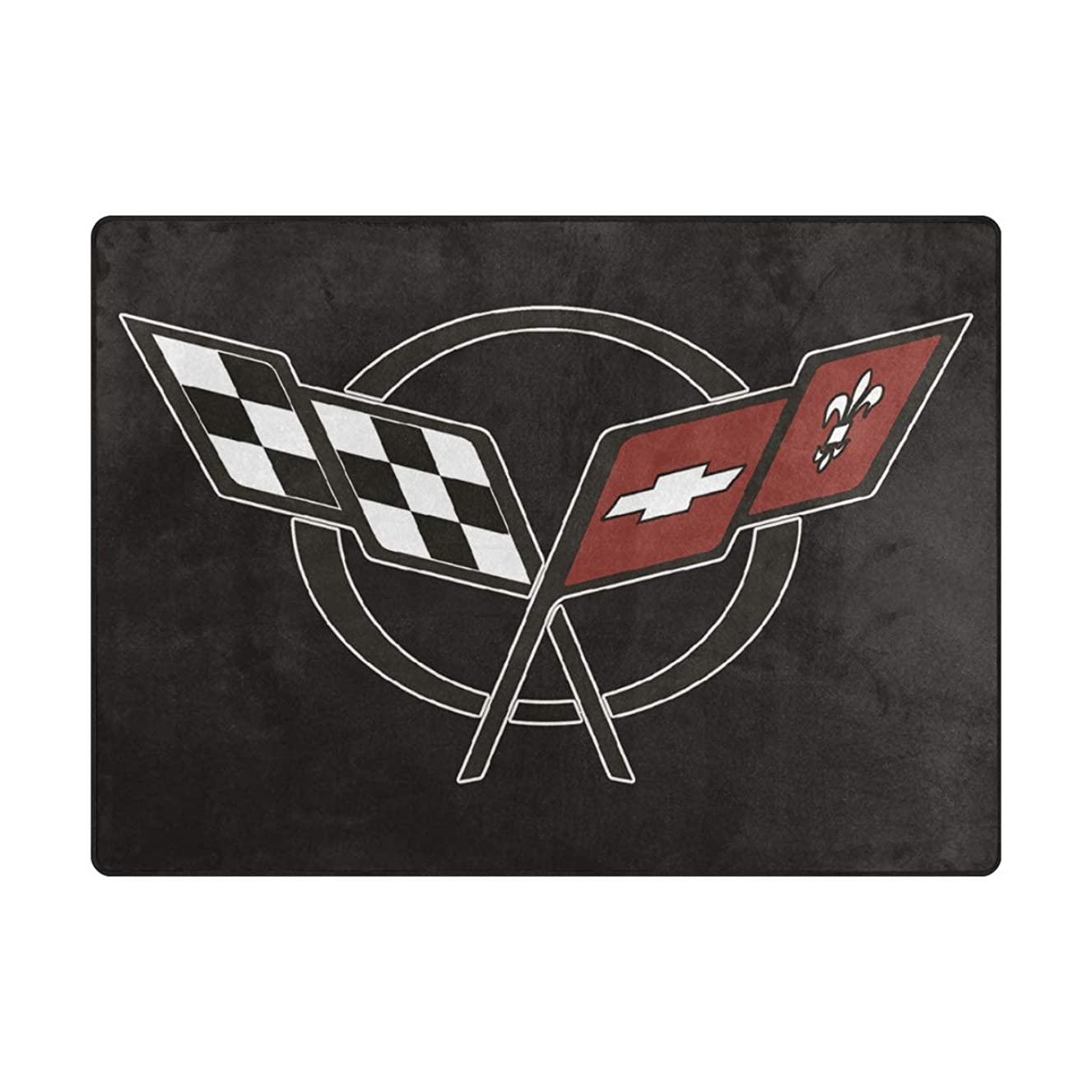 Fallake Corvette-Logo Distressed Area Rug Rugs for Living Room Bedroom