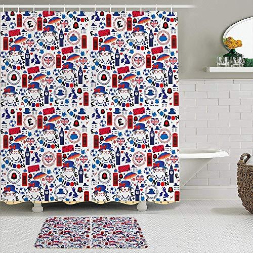 RUBEITA 2-teiliges Duschvorhang-& Matten-Set,Muster mit Londoner Symbolen Queen Elizabeth,rutschfeste Teppiche,wasserdichte Badvorhänge mit 12 Haken