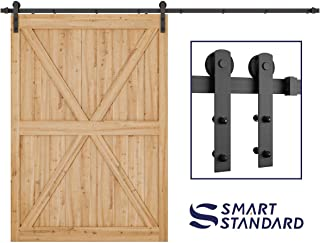 10ft Heavy Duty Sliding Barn Door Hardware Kit - Super Smoothly and Quietly - Simple and Easy to Install - Includes Step-by-Step Installation Instruction - Fit 60