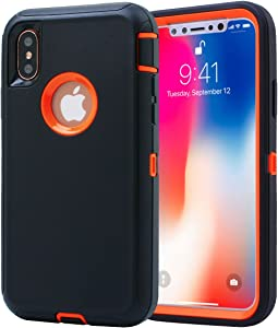 AICase iPhone X/XS Case, 3 in 1 Scratch Resistant, Drop Proof Heavy Duty Soft TPU+ Hard PC Hybrid Truly Shockproof Dustproof Armor Protective for iPhone X (Black/Orange)