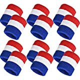 Bememo 12 Pack Striped Sweatbands Wrist Sports Wristband Wrist Band Sweat Band for Men and Women, Good for Tennis, Basketball, Running, Gym, Working Out