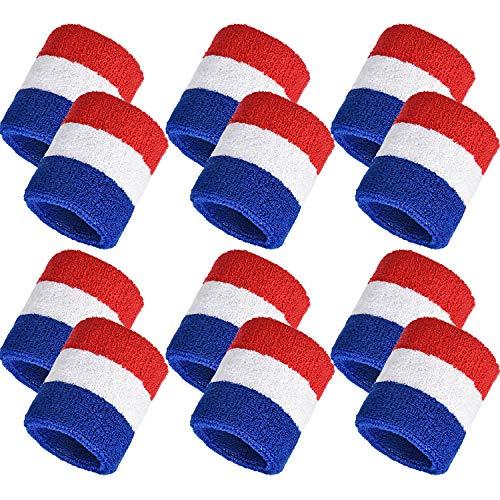 Bememo Muñequeras deportivas de algodón (pulsera banda) para tenis, baloncesto, correr, gimnasio y hacer ejercicio Rojo, Blanco y Azul