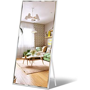"""Full Length Mirror 65""""x23.6"""" Standing, Wall Hanging, Vertical White Frame HD Rectangle Full Body Tall Big Floor Stand up or Wall Mounted Mirror"""