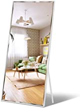"Full Length Mirror 65""x23.6"" Standing, Wall Hanging, Vertical White Frame HD Rectangle Full Body Tall Big Floor Stand up o..."
