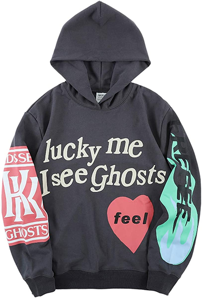 Kanye Lucky Me I See Ghosts Sweatshirts Hip Hop Rapper Hoodie Cotton Pattern Athletic Hoodies Pullover