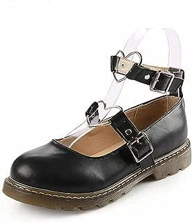 Japanse Harajuku Sweet Lolita Shoes PU Leather Heart Strap Mary Jane Flat Shoes