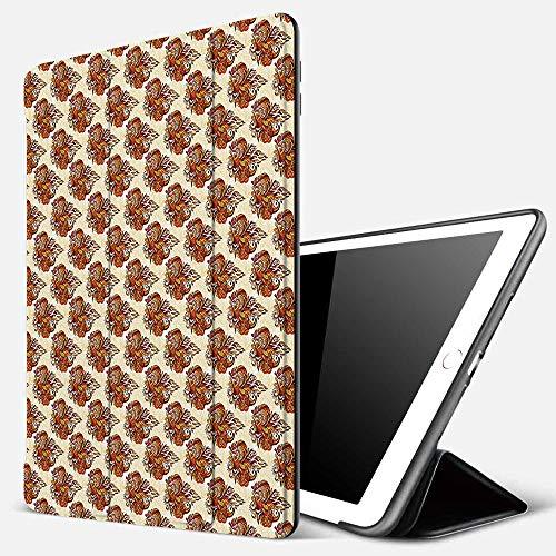 Funda iPad 10.2 Inch 2018/2019,Batik, Mehndi Retro en Forma de Cono Forma Traditi étnicoImpresión artística Femenina Kitsch Femenina, Multi,Cubierta Trasera Delgada Smart Auto Wake/Sleep