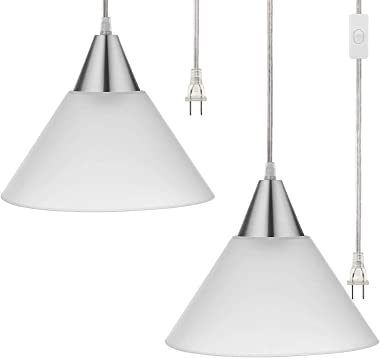 DEWENWILS Plug in Indoor Pendant Hanging Light, Interior Ceiling Light for Living Room, Bedroom, Dining Hall, Frosted Plastic White Shade, 15FT Clear Cord On/Off Switch,Pack of 2