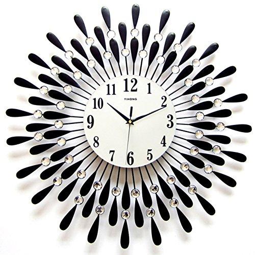 NACHEN wandklok stille eenvoudige decoratieve woonkamer moderne minimalistische stijl kwarts horloge 60 * 60cm Zwart
