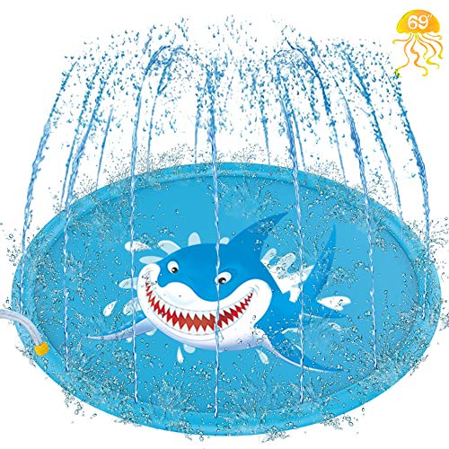"""69"""" Inflatable Splash Pad, Sprinkle and Splash Play Mat, Outdoor Backyard Sprinklers Toys for Toodler Boys Girls Dogs, Children Fountain Baby Water Playmat Splashpad with Wading Pool Shark"""