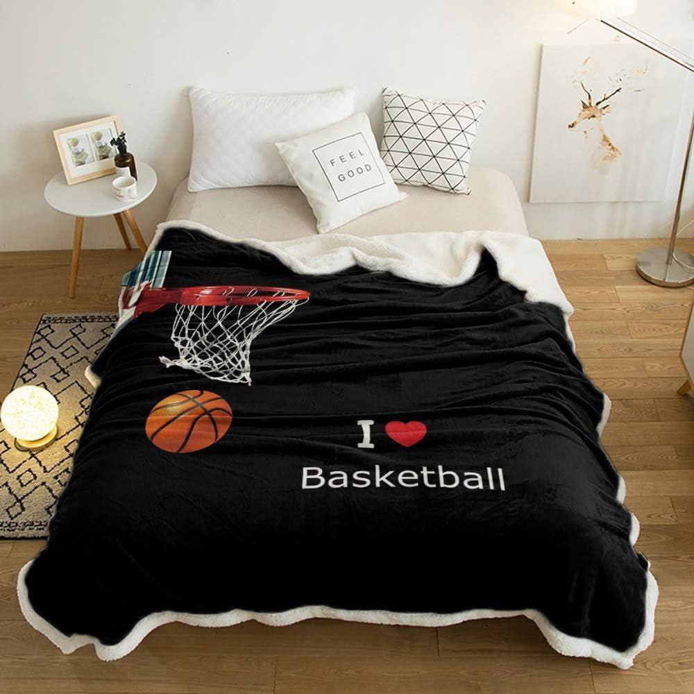 SUN-Shine Brand new Sherpa Fleece Throw Basketball Reversible Blanket Luxury goods Hoop