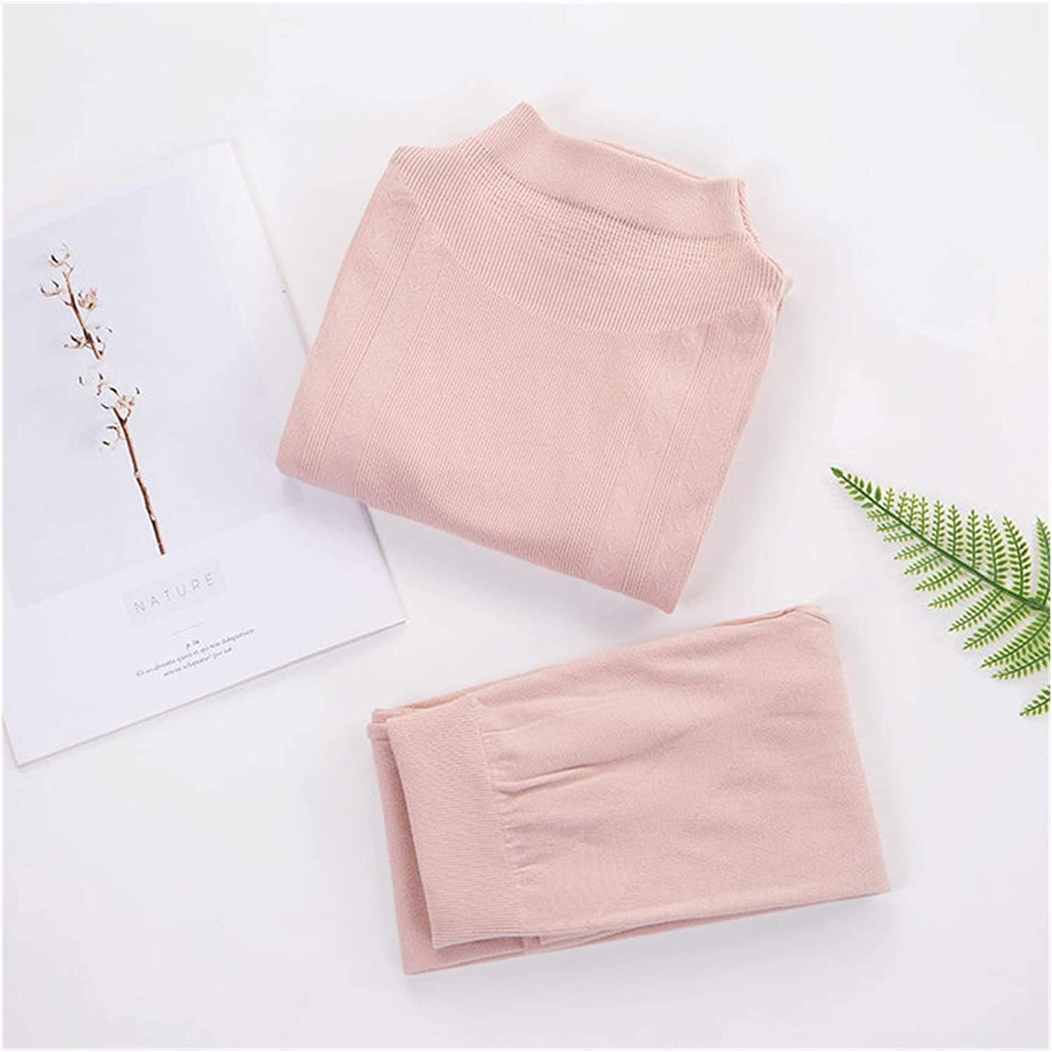 LCM Solid Color Slim Women's Thermal Underwear Set Winter Turtleneck Cotton Female Second Skin Thermo Clothing Pajamas (Color : Beige, Size : One Size)