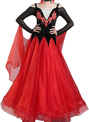 Valse Tenue de Danse Robes de Compétition pour Femmes Exécution VêteHommests de Danse Moderne