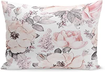 Amazon Com Semtomn Throw Pillow Covers Gray Spring Pink Flowers And Leaves On Watercolor Floral Pattern Rose In Pastel Color Tileable Wall Pillow Case Cushion Cover Lumbar Pillowcase For Couch Sofa 20 X