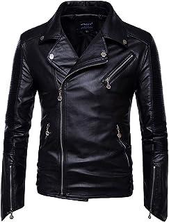 MISSMAO Mens Cool Racing Biker Zip Up Leather Jacket