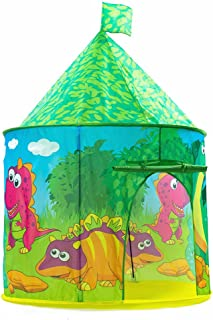 PLAY 10 Kids Tent Dinosaur Castle Pop up Tent for Indoor and Outdoor Fun,Neatly Folds into a Carrying Bag