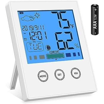 Newdora Higrómetro Termómetro Digital Interior Monitor de Temperatura y Humedad de Habitaciones Medidor de Humedad para Hogar, Oficina, Dormitorio Infantil