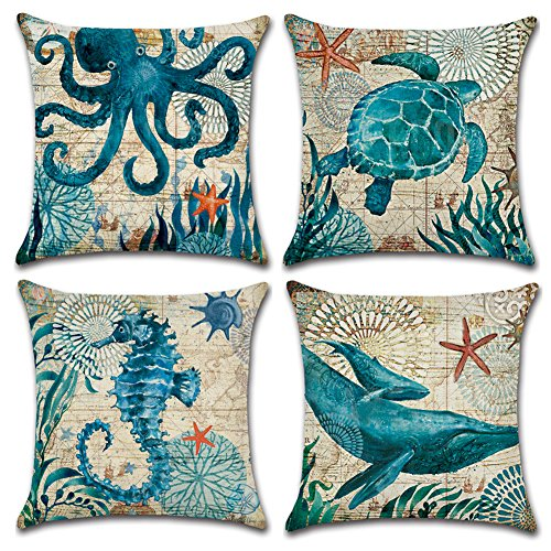 JOTOM Cotton Linen Cushion Covers Square Waist Throw Pillow Case Cover Home Bed Sofa Car Decor 45 x 45cm, Set of 4 (Marine Animal 2)