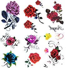 6 Sheet Small Fake Rose Tattoo for Women Kids Girls,Temporary Tattoos Blue red Flower,Waterproof and Long Lasting Sexy Tattoos Flowers -Include Purple Pink Yellow Rose Flowers, Butterfly