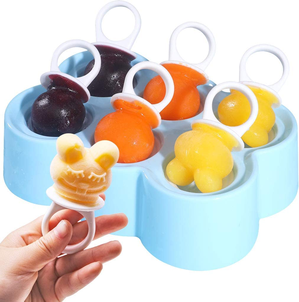 Small Ice Pop Molds Animal Shape, Reusable DIY Ice Cream Maker Popsicle Molds BPA Free [Cavity of 6], Funny Cute Pop Molds With Sticks (Pacifier / Blue)