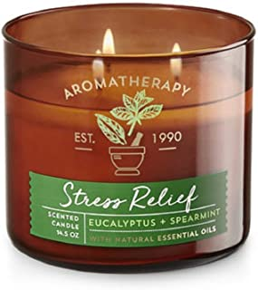 【Bath&Body Works/バス&ボディワークス】 アロマキャンドル アロマセラピー ストレスリリーフ ユーカリスペアミント Aromatherapy 3-Wick Scented Candle Stress Relief Eucalyp...