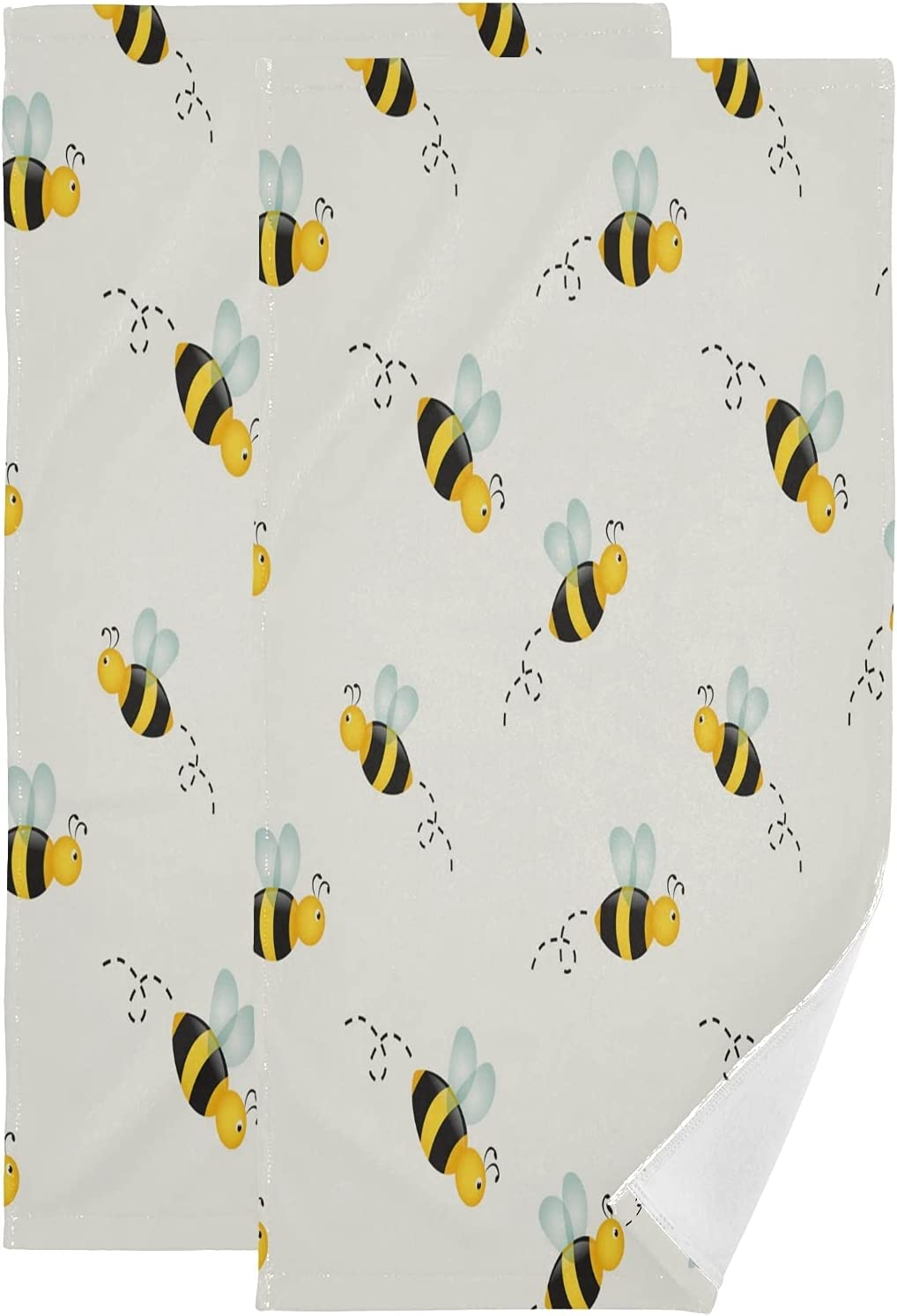 ALAZA Max 68% OFF Animal Cute Little Max 57% OFF Bee Decorati Absorbent Hand Soft Towels