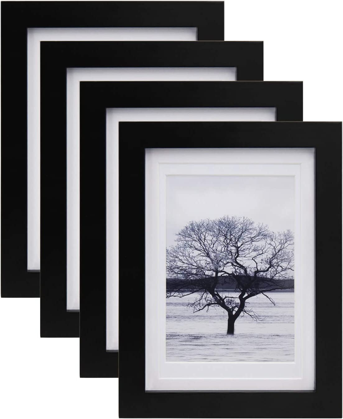 Fashionable Egofine 5x7 Max 88% OFF Picture Frames 4 PCS - of Made for Wood Matted Solid