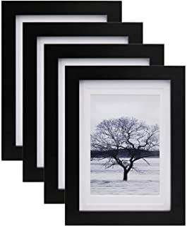 Egofine 5×7 Picture Frames 4 PCS – Made of Solid Wood Matted for 4×6 and..