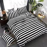 wuy Black and White Bedding Set 3PC Striped Duvet Cover Pillowcase Reversible Design Home Textiles (Full,1 Duvet Cover +2 Pillow)