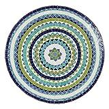 albena Marokko Galerie Marokkanischer Mosaiktisch 60cm rund Gartentisch Bistrotisch Terrassentisch Fliesentisch Mediterraner Tisch (Hiawa blau/türkis/Weiss/grün) - 2
