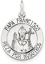 925 Sterling Silver Brushed Papa Francisco Medal Pendant Charm Necklace Religious Pope Franci Fine Jewelry Gifts For Women For Her