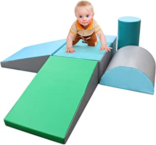 SURPCOS Climb and Crawl Activity Play Set, 6 Pieces Lightweight Foam Shapes for Climbing, Crawling and Sliding, Safe Foam ...
