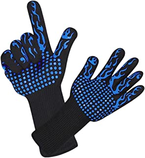 Nrpfell BBQ Gloves Extreme Heat Resistant Grilling Gloves Oven Silicone Glove for Cooking, Kitchen, Baking, Fireplace, Grilling