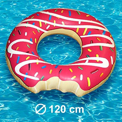 Aufblasbarer XL Donut Schwimmring Luftmatratze - Ø 120cm, Schwimmreifen aus PVC / Wasserspielzeug, Badespielzeug für Strand, Schwimmbad und Pool
