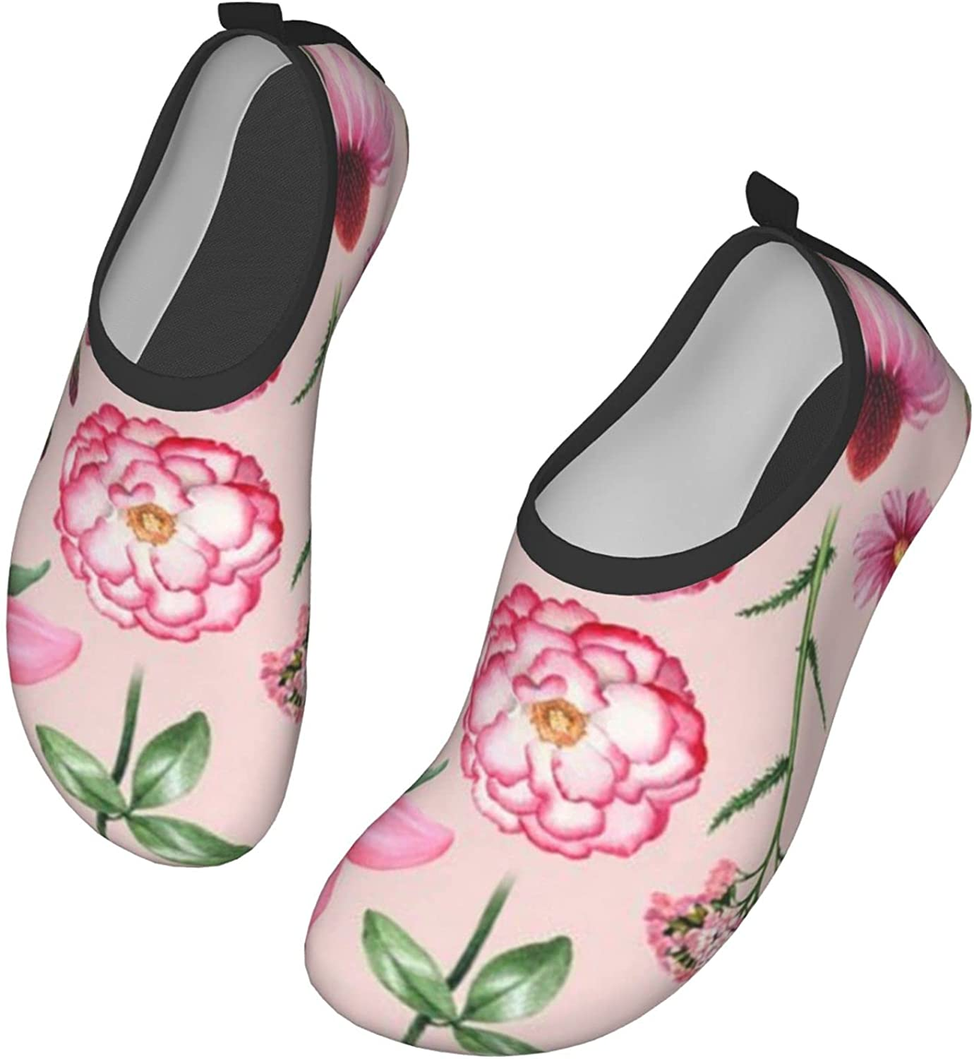 Watercolor Pink Flower Plant Womens and Mens Water Shoes Barefoot Quick-Dry Aqua Socks Slip-On for Outdoor Beach Swim Yoga