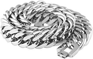FANS JEWELRY Silver cuban link chain men chains cuban bracelet for men cuban link bracelet cuban chain choker chain men heavy huge 21mm wide 10-20 inches, Cadena cubana Cadena de hombres Pulsera cubana Brazaletes de Cuba