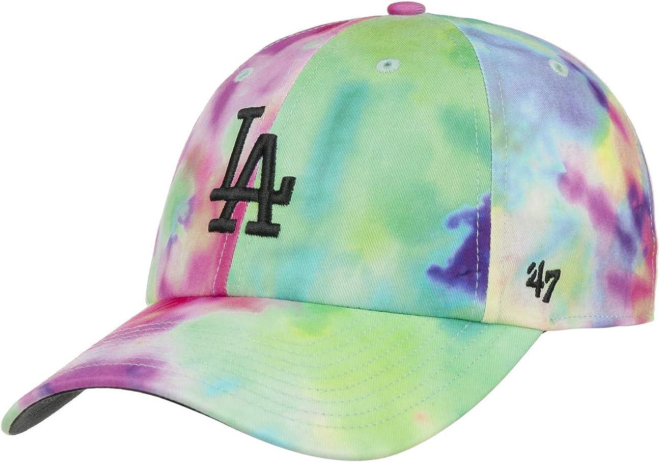 47 Brand Clean Up Tie Dye Dodgers Cap Curved Brim Baseball Cap MLB LA Los Angeles with Peak