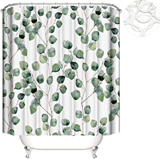 Sponsored Ad - Yourlifego Watercolor Leaves Shower Curtain Sets with Hooks Polyester Fabric Waterproof Bathroom Curtains f...
