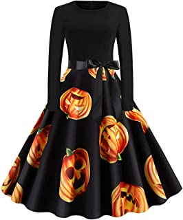 wuliLINL Women's 1950s Vintage Dresses Audrey Hepburn Style Party Dresses(Orange,M)