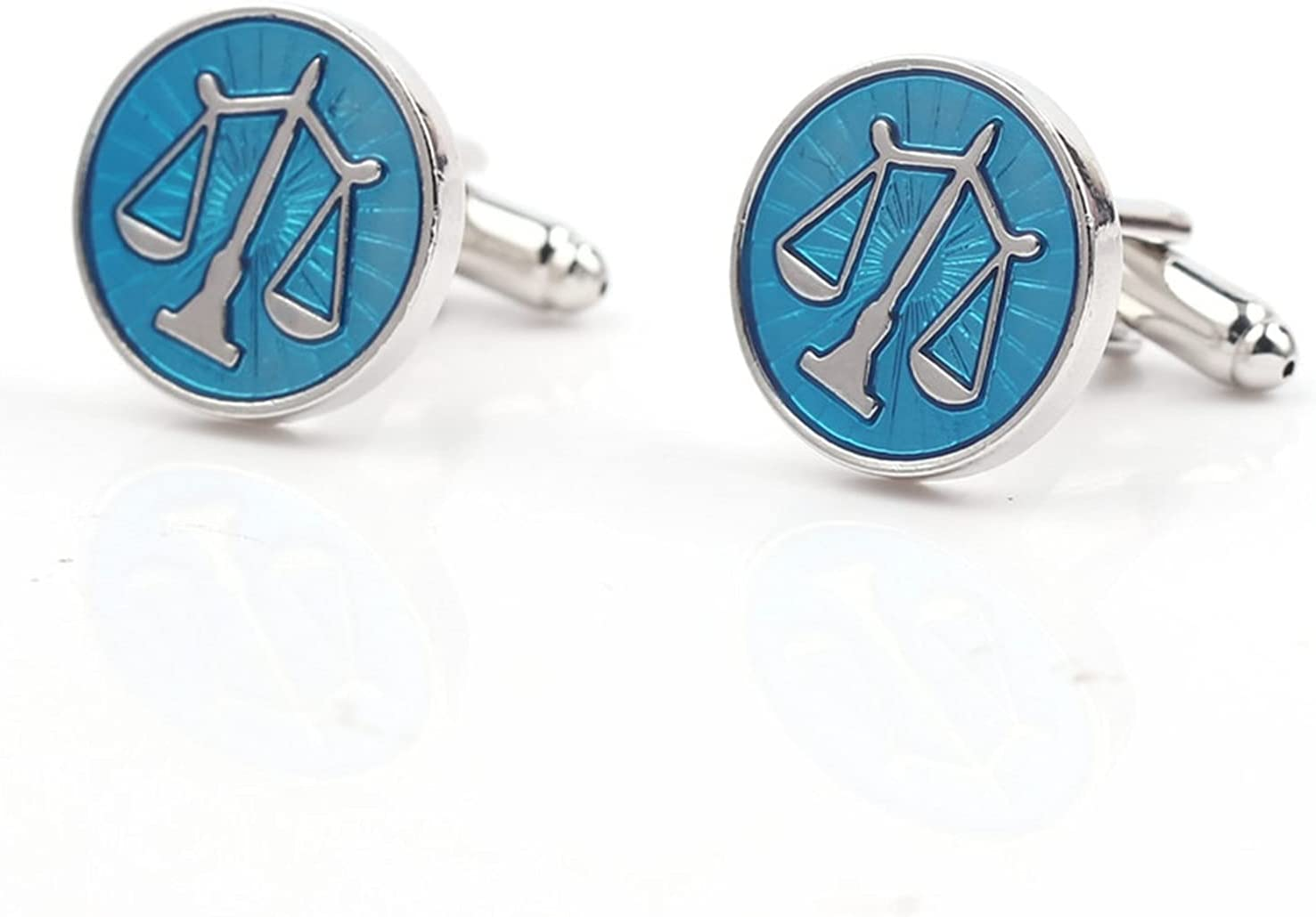 chenfeng Cufflinks Libra Scales Scorpio Cufflinks Round Balance Cuff Links for Mens Shirt Studs Gift (Metal Color : XK219)