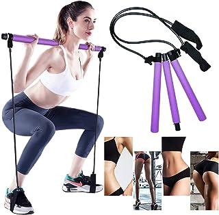 Gomi - Barra de pilates portátil con banda de resistencia para yoga, pilates, barra de tonificación de ejercicio con trabi...
