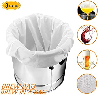 Brew Bag, Brew Bags Extra Large(26×22) Reusable, Drawstring Straining Brew in a Bag 250 Micron for Home Brewing/Fruit Cider/Apple Grape/Beer Wine Press/Nut Milk(Value 3 Pack)