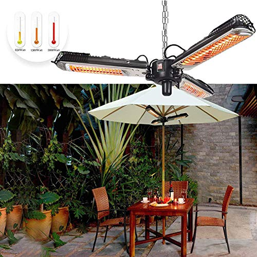 SANVAN Electric Patio Parasol Heater, 2000W Foldable Infrared Heaters Outdoor Heater IP34 Waterproof 3 Power Settings with Chain for Gardens And Commercial Use