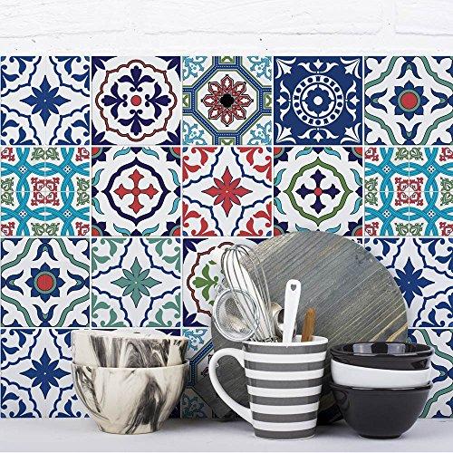 Juego de 12 adhesivos para azulejos, formato 20 x 20 cm, fabricados en Italia, PUV0036 Lisbona - Adhesivos de PVC para azulejos con efecto cerámica para baño y cocina
